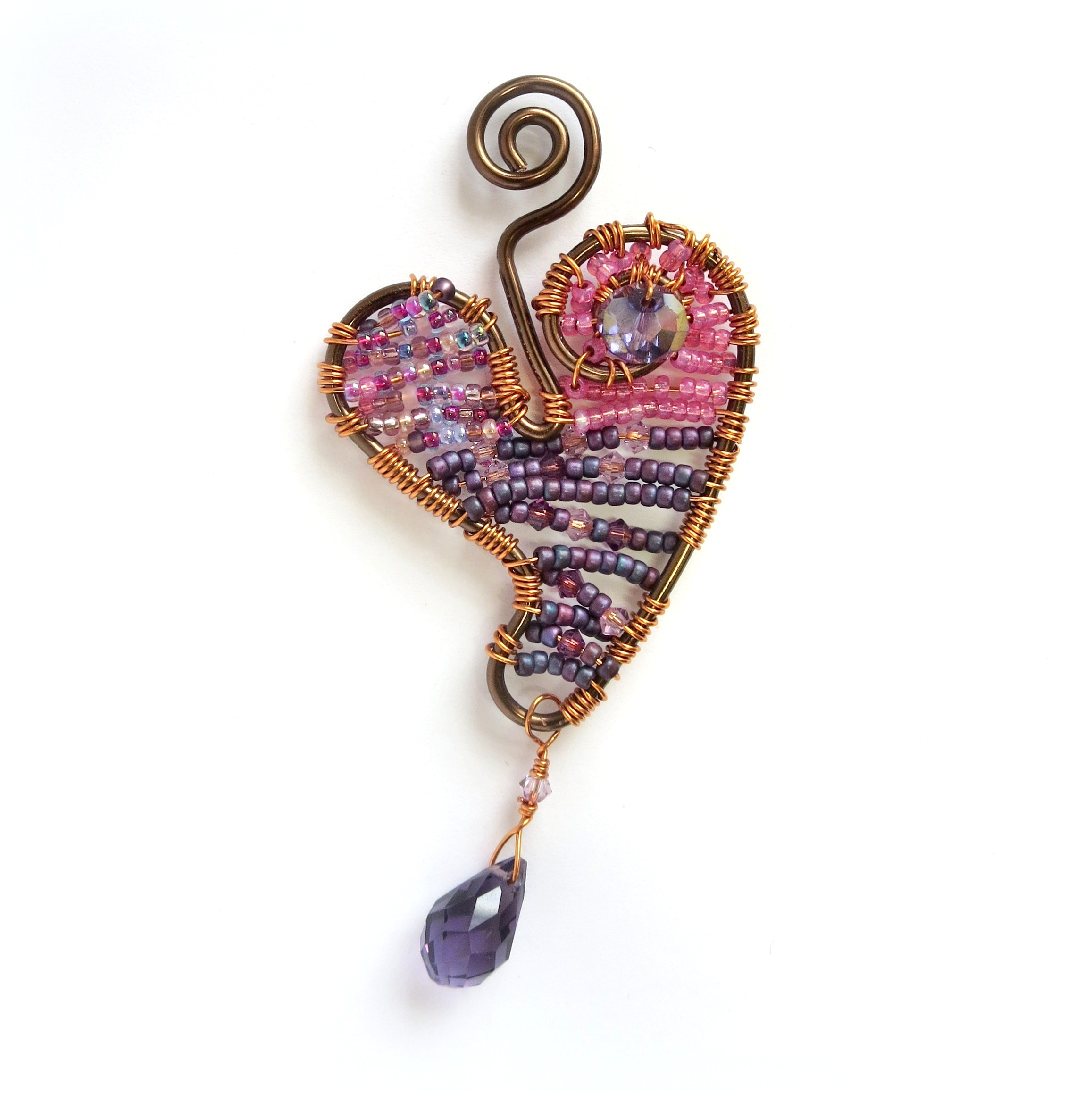 Wire-Wrapped Beaded Heart Pendant Kit